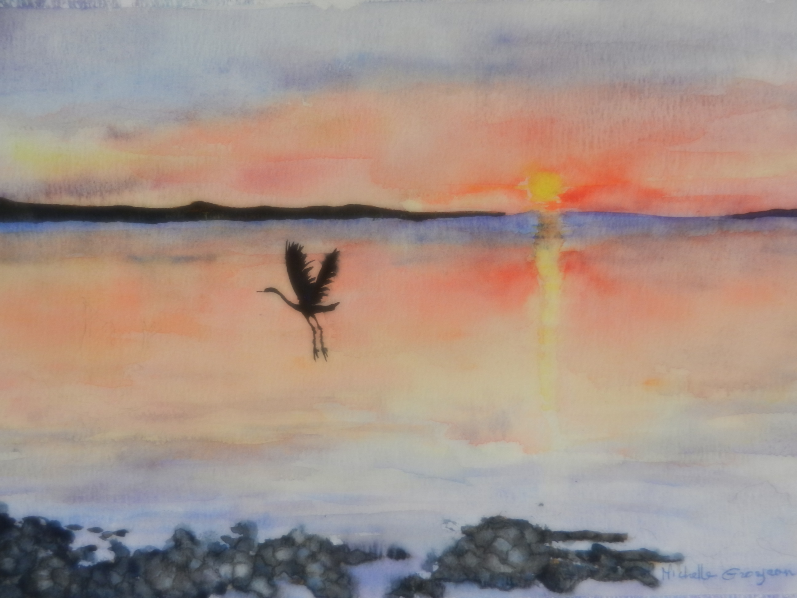 Early Morning Crane (watercolor)