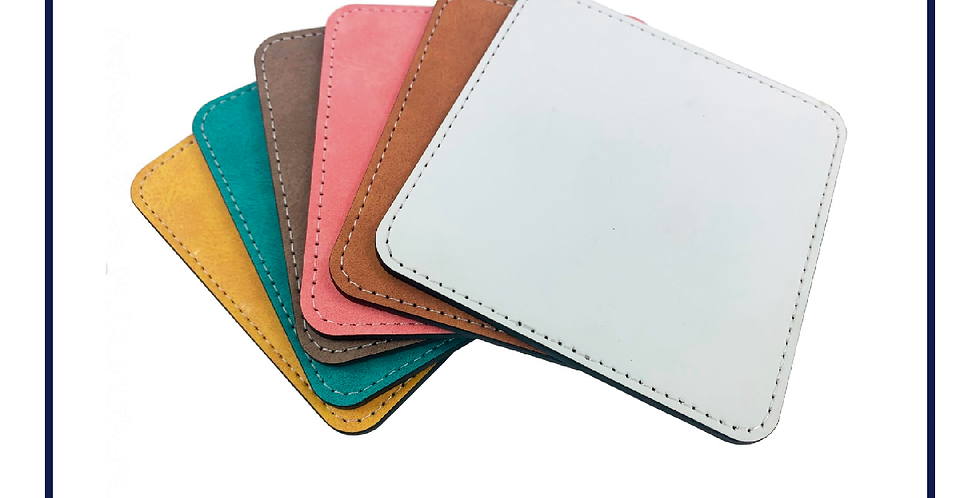 6x Faux Leather Rectangular Printed Glass Coaster 100mm x 100mm