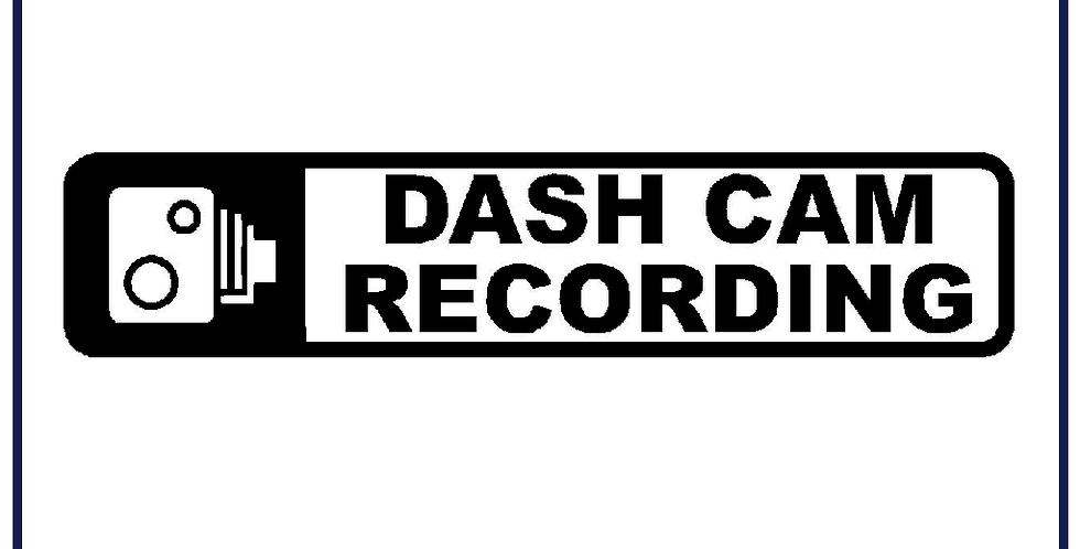 Dash Cam Recording Warning Sticker Self Adhesive Pack of 5