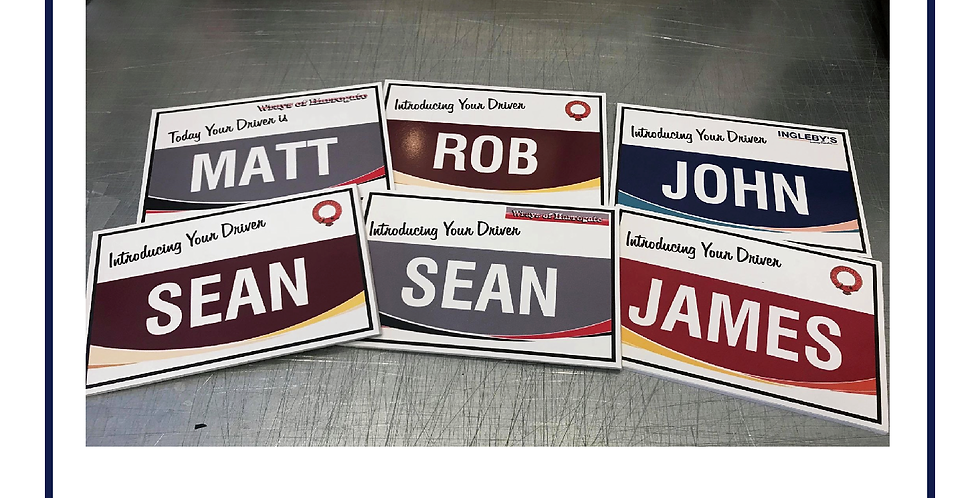 COACH DRIVERS WELCOME BOARD 150mm X 200mm Your Own Name and Logo Foamboard