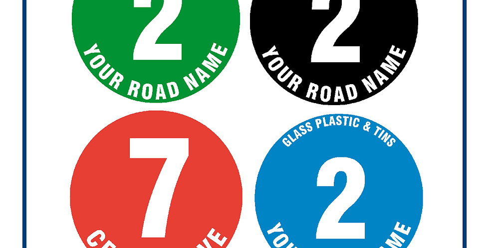 120mm Your Address Wheelie Bin Numbers Self Adhesive Pack of 4