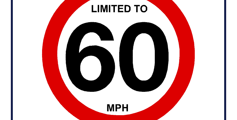 60mph Speed Limit Sign - self adhesive graphic