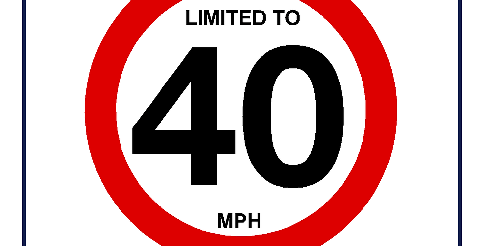 40mph Speed Limit Sign - self adhesive graphic