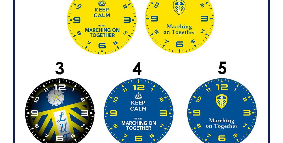 Leeds United Glass Clock 200mm