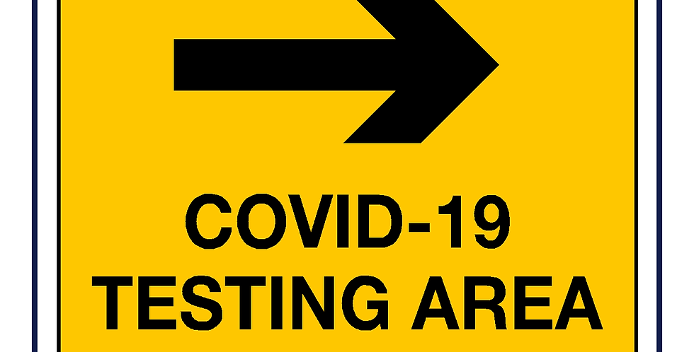 Covid-19 testing -testing area right arrow