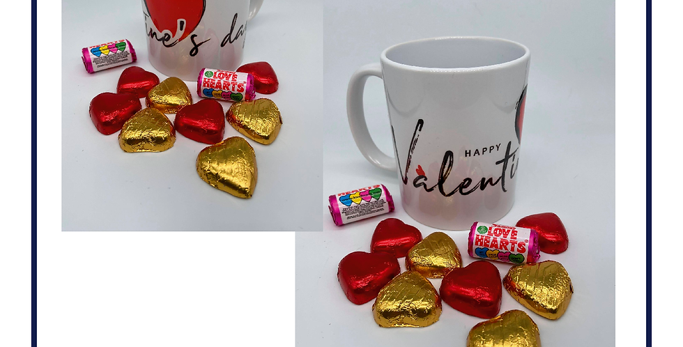 Beautiful 11oz Valentines Mug with Chocolates with gift box