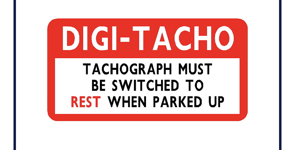 Digi Tacho Rest reminder sticker - pack of 5 - 50mm x 25mm