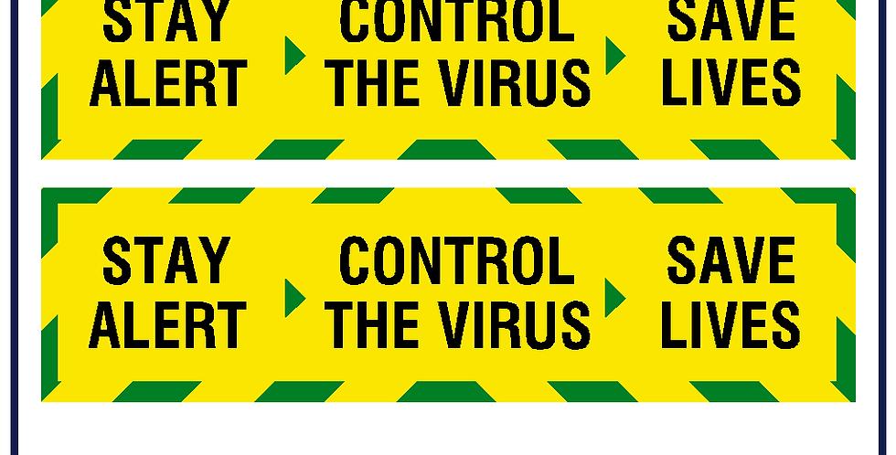 2x Stay Alert Yellow Chevron Stay Home Sticker