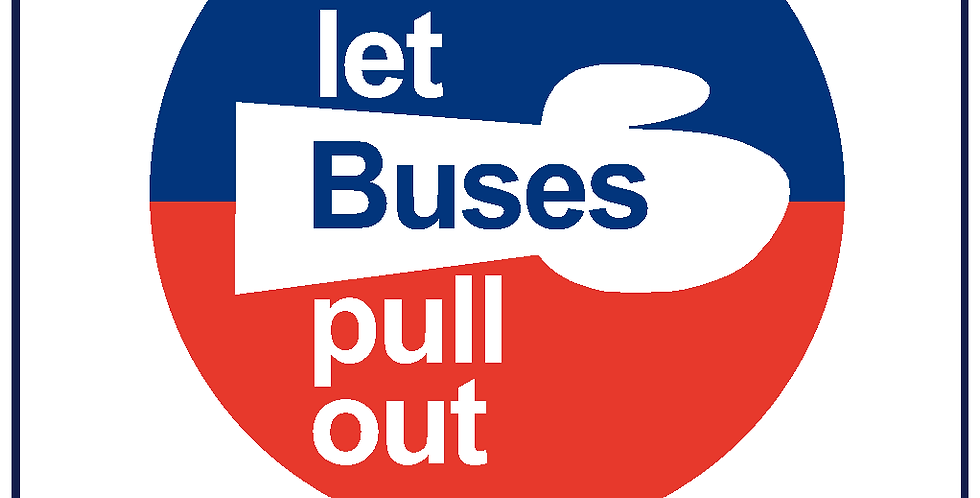 Retro Heritage PLEASE LET BUSES PULL OUT Sticker Decal Round 430mm