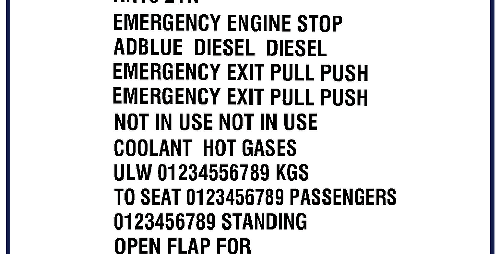 Bus Coach Taxi Legal Lettering Kit 25mm digits