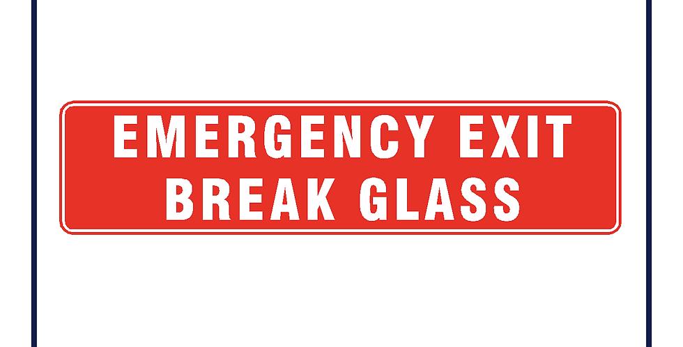 EMERGENCY EXIT BREAK GLASS RED Sticker 210mm X 50mm