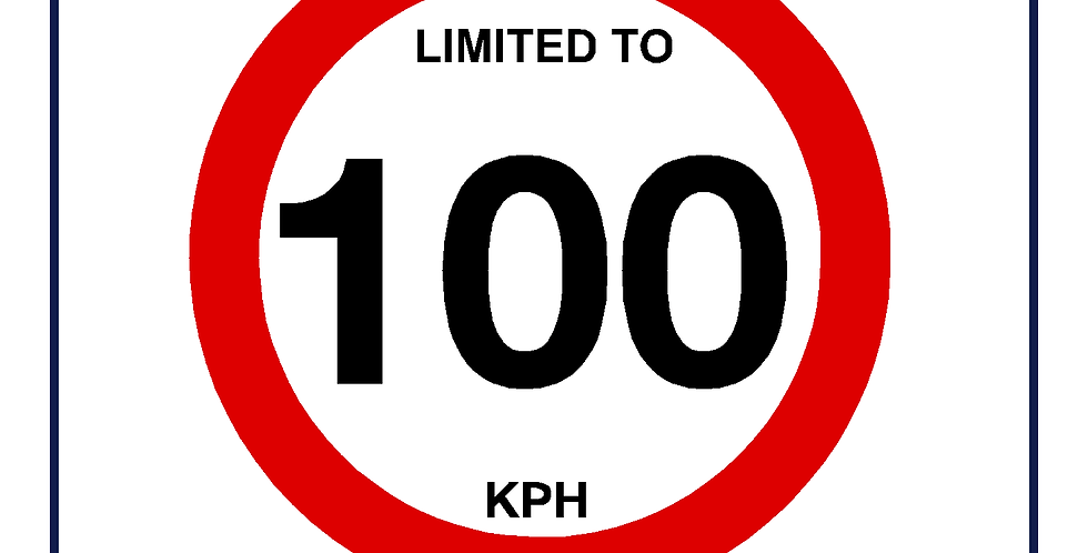 100 kph Speed Limit Sign - self adhesive graphic