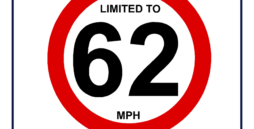 62mph Speed Limit Sign - self adhesive graphic