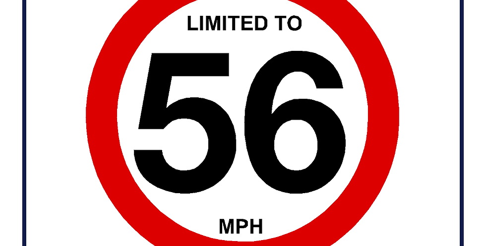 56mph Speed Limit Sign - self adhesive graphic