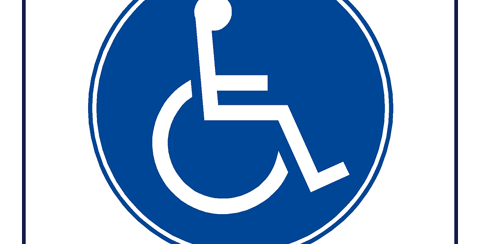 Round 150mm DVSA APPROVED Wheelchair Sign for Bus Coach Taxi Minibus