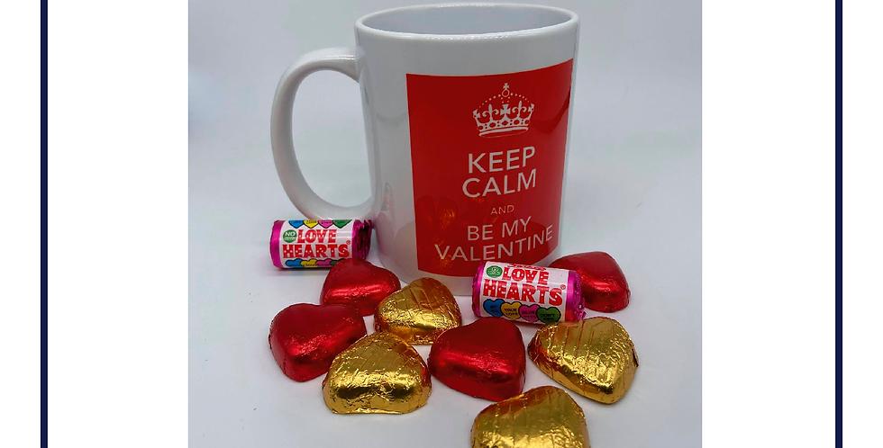 Keep Calm Valentines Mug with Chocolates with gift box