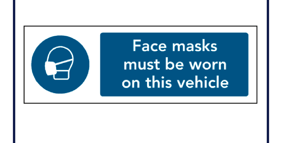Face Masks Must be Worn on This Vehicle Self Adhesive Graphic