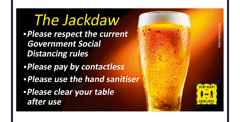 Pub Open Safety Eyelet Banner Social Distance 1500mm X 750mm Easy Fit