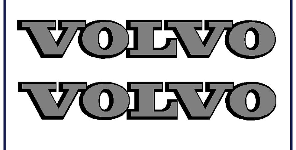Volvo Badge Self Adhesive Black Silver Cut Vinyl 350mm X 55mm Pack of 2