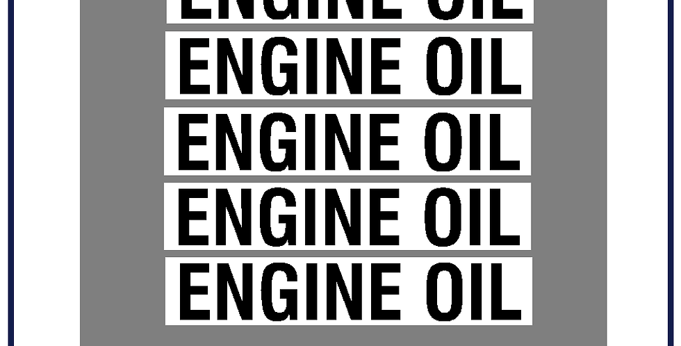Engine Oil Lettering Kit 25mm DVSA APPROVED Pack of 5