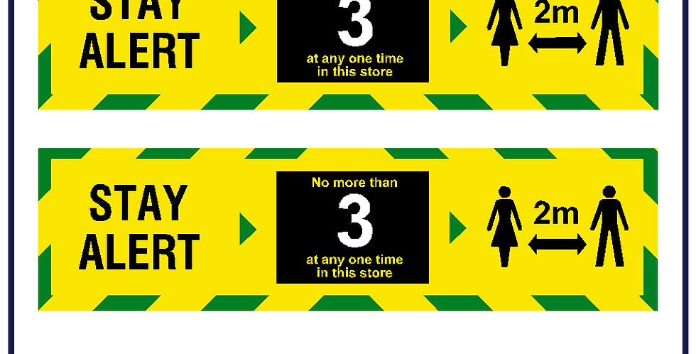 2x Yellow Stay Alert Social Distance Maximum Customers Shop Sign Sticker