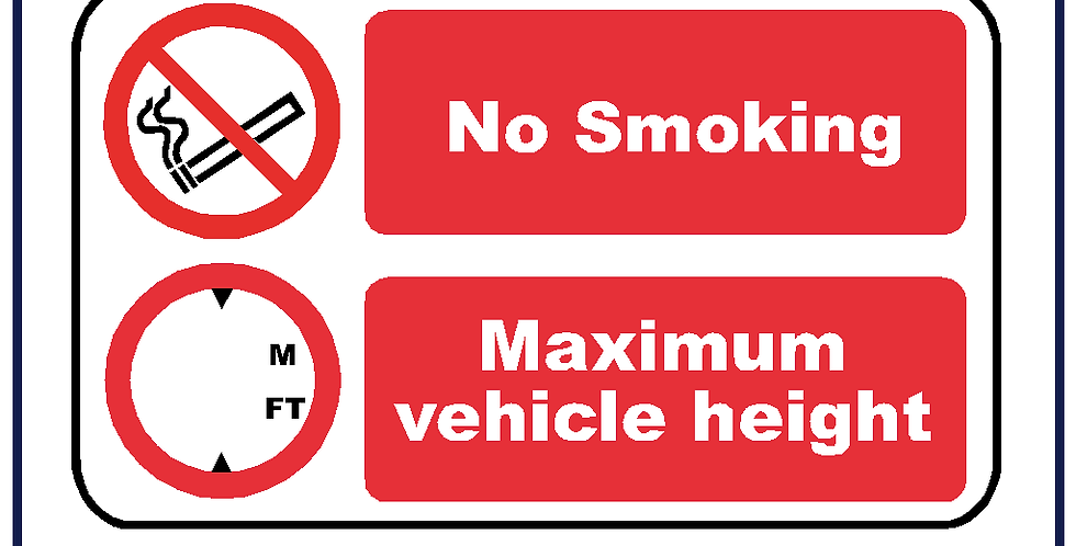 5x Vehicle Height and No Smoking Cab Sign Self Adhesive 120mm X 70mm
