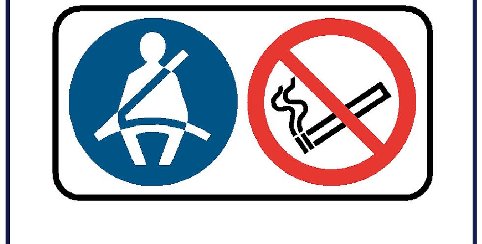 5x Seatbelt and No Smoking Sign Cab Sticker Printed Vinyl Decal