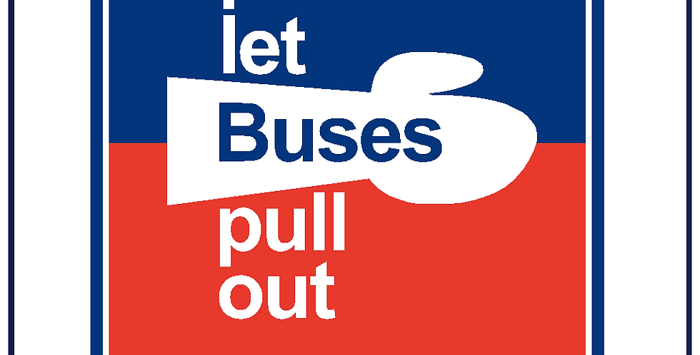 Retro PLEASE LET BUSES PULL OUT Blue Red White Sticker Graphic Decal 430mm