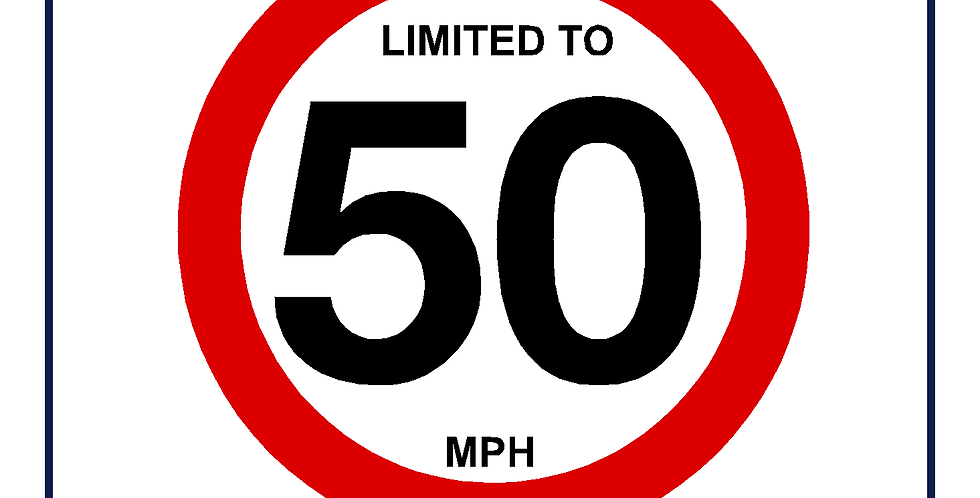 50mph Speed Limit Sign - self adhesive graphic