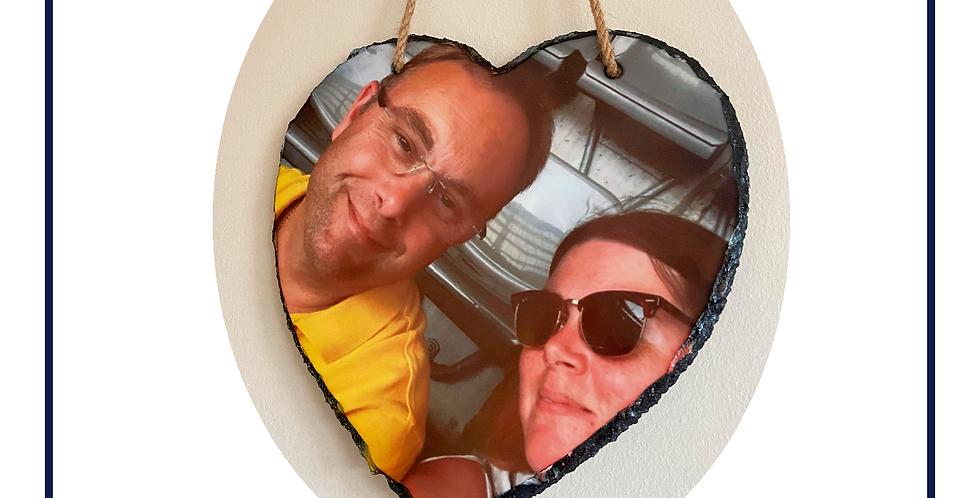 Hanging heart shaped rock/slate photo display 200mm