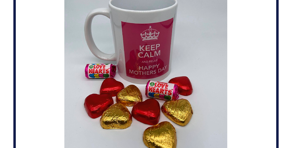 Keep Calm Mothers Day Mug with Chocolates with gift box
