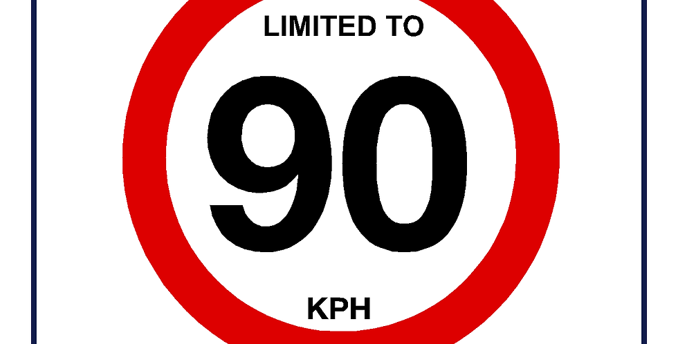 90 kph Speed Limit Sign - self adhesive graphic