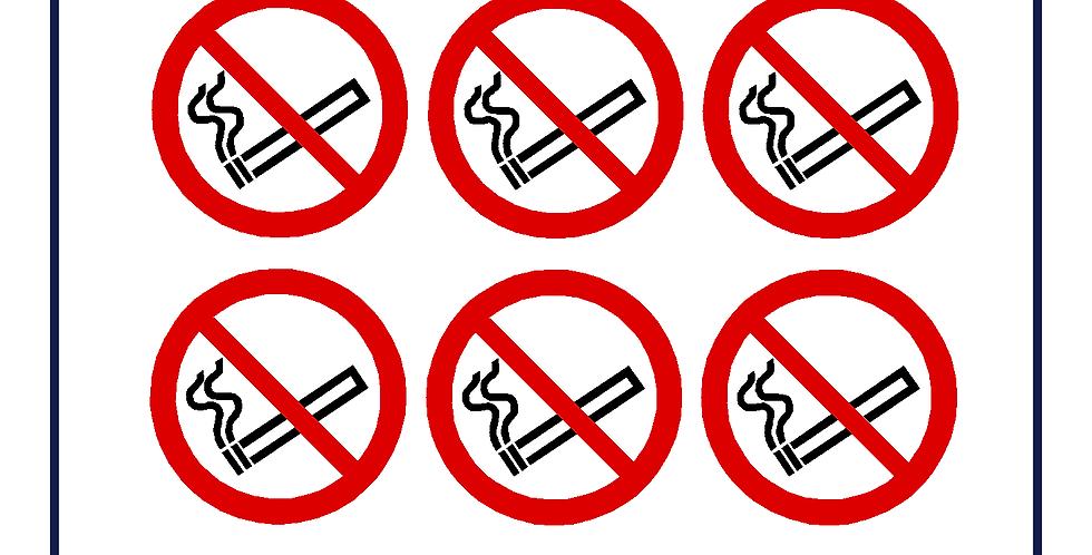 No smoking roundel - self adhesive sticker 90mm