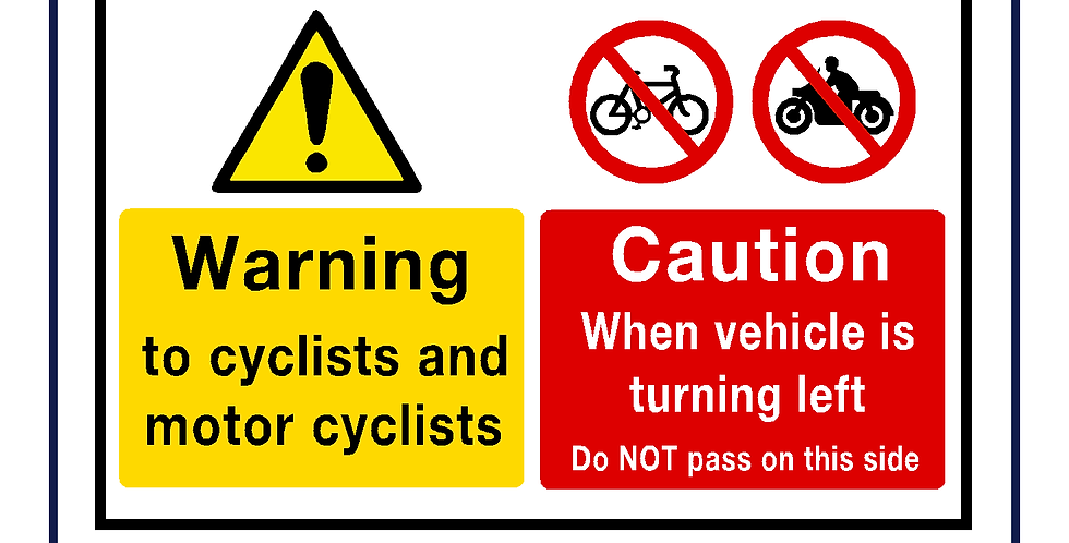 Twin warning sign cyclist and motorcyclist left turn - self adhesive