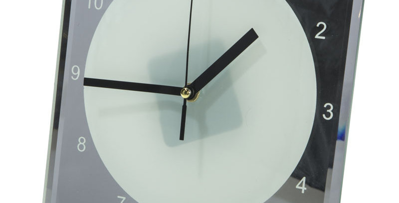 Uniquely printed glass fronted clock - square