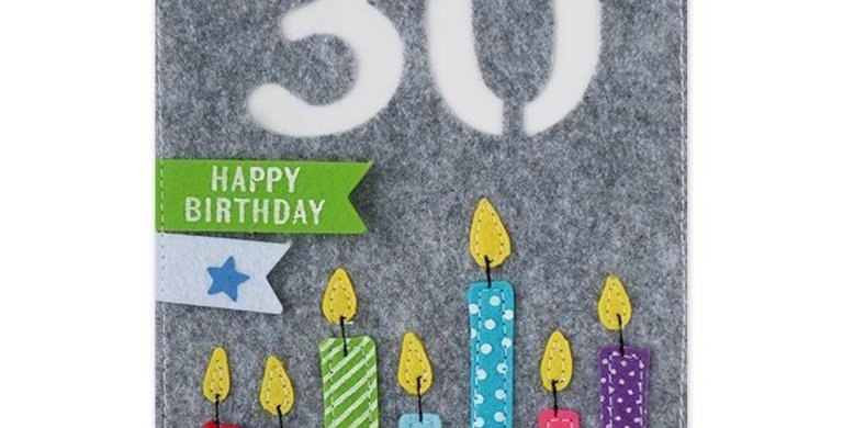 Filzkarte Happy Birthday 30
