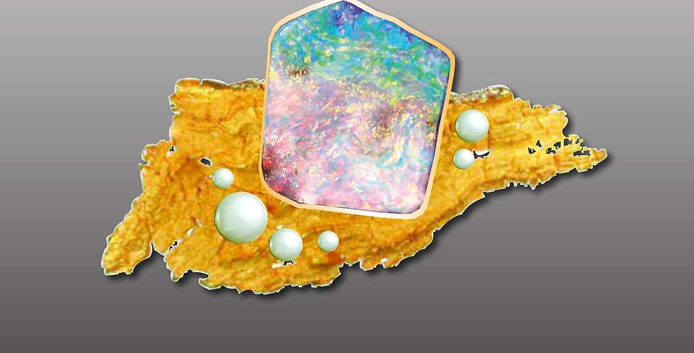 Boulderopal auf einem Treibholz aus 750er Gold