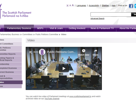 Appearance before Scottish Parliament Petitions Committee - Petition for Plant-Based Food