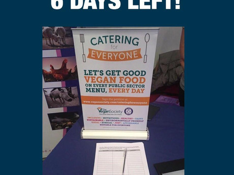 6 DAYS LEFT to Support Plant-Based Food in Public Institutions, Hospitals, Schools etc