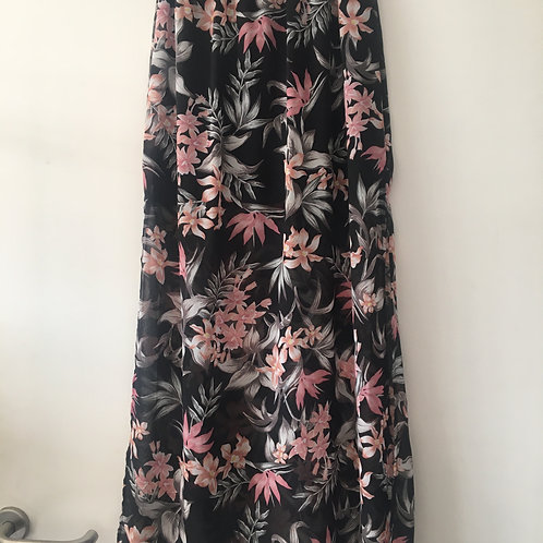 Jupe longue noire fleurs roses