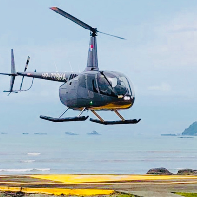 Taking off from the  helipad
