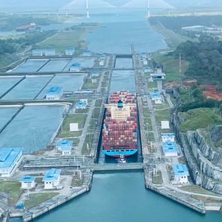 Neo Panamax Container Carrier at Agua Clara Locks on Panama's Atlantic Side