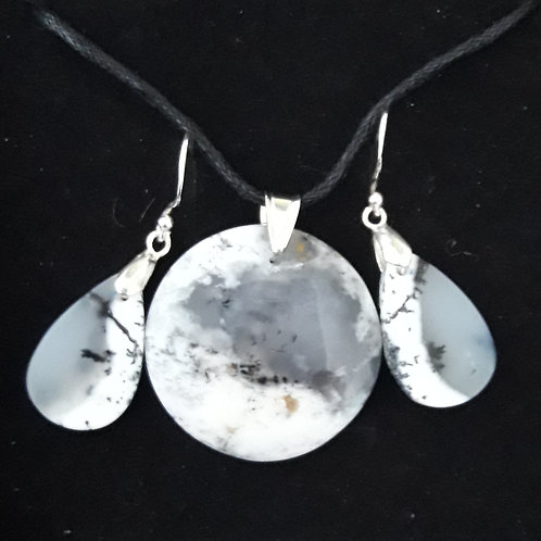 Parure Opale Dendritique en pendentif, argent 925