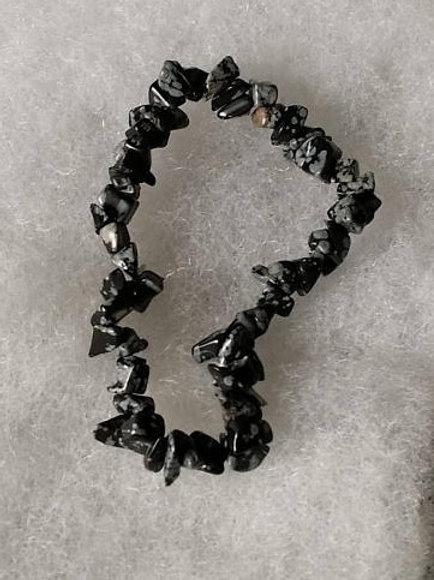 Bracelet en obsidienne flocons de neige