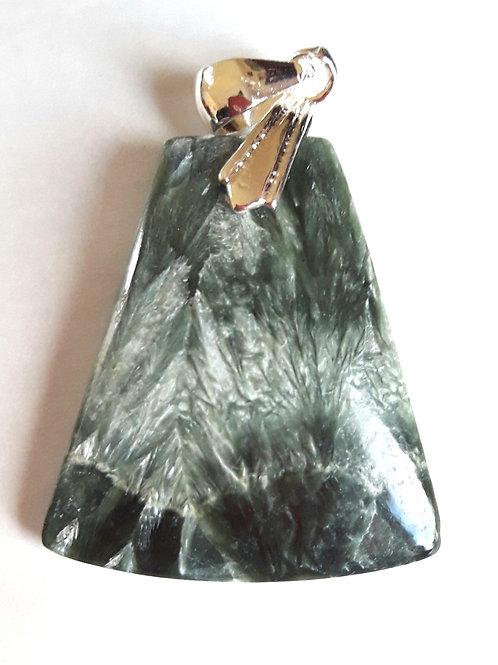 Séraphinite, pendentif monté sur bélière plaqué argent 925
