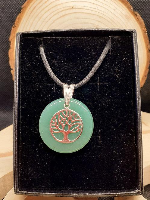 Aventurine et arbre de vie, pendentif argent 925