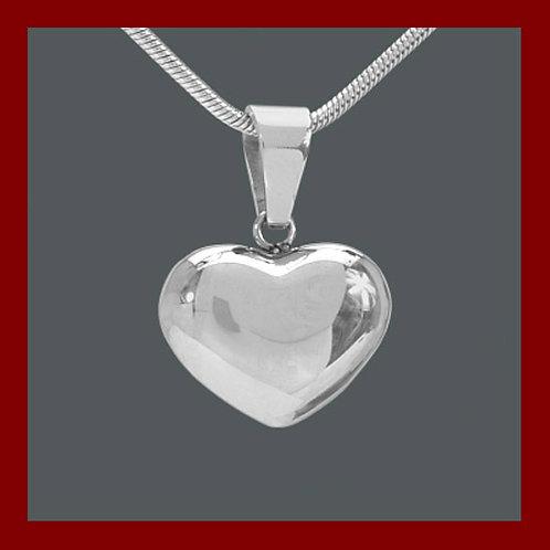 Pendentif coeur bombé et creux, pendentif en argent 925°/°° rhodier