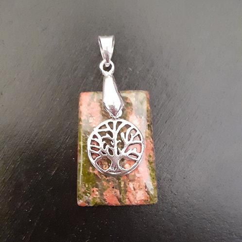 Unakite (Epidote) et arbre de vie argent 925 en pendentif