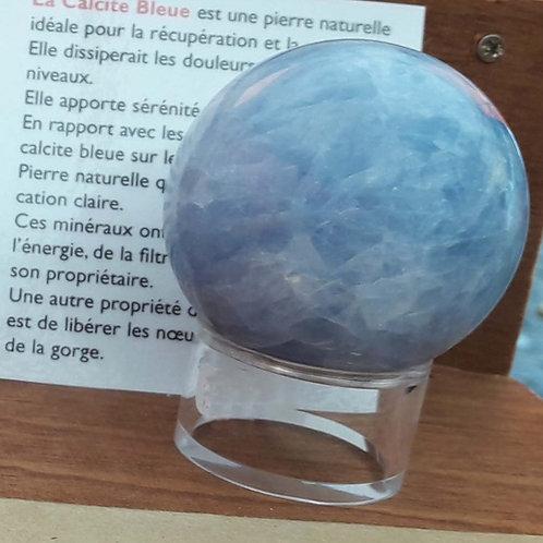 Sphère de calcite bleue 6 cm de diamètre