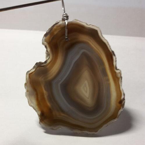 Agate naturelle tranche, grand pendentif monté sur fil d'argent 950